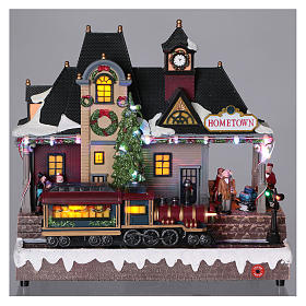 Christmas village station with lights and moving train 30x30x15 cm s2