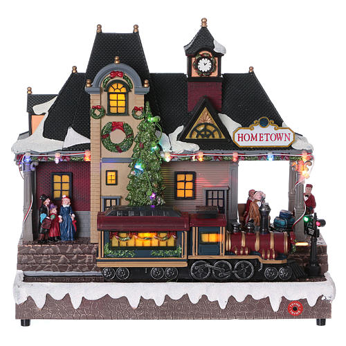 Christmas village station with lights and moving train 30x30x15 cm 1