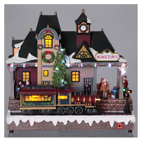 Christmas village station with lights and moving train 30x30x15 cm 2