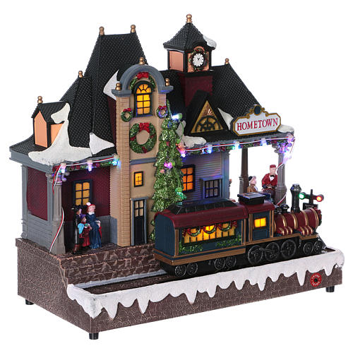 Christmas village station with lights and moving train 30x30x15 cm 4