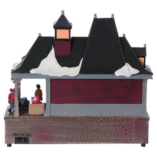 Christmas village station with lights and moving train 30x30x15 cm 5