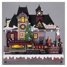 Villaggio natalizio stazione treno movimento luci 30x30x15 batteria corrente s2