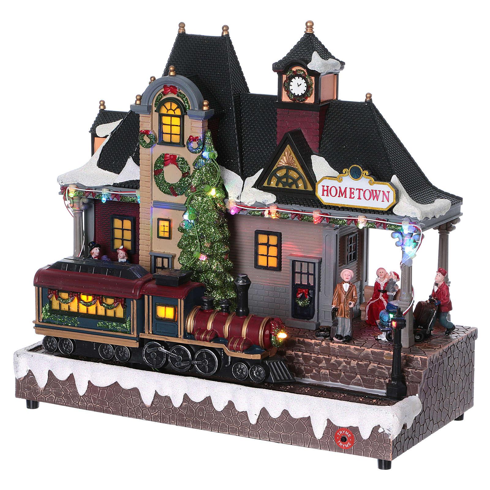 Illuminated and animated Christmas village train station 30x30x15, batteries 3