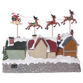 Christmas village with lights and Santa Claus movement 30x35x20 cm s5