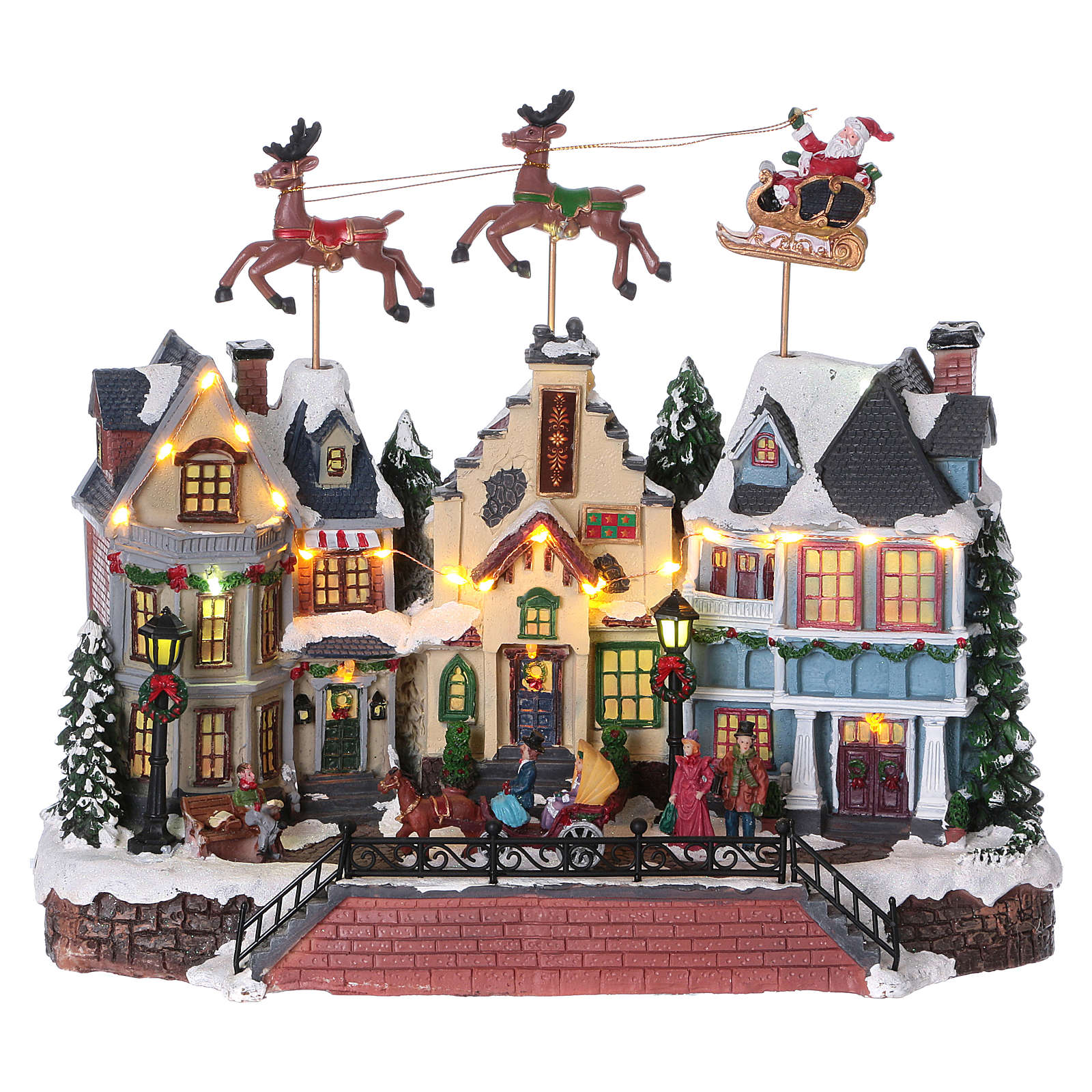 Cenário de Natal Pai Natal renas movimento 30x35x20 cm luzes música corrente 3