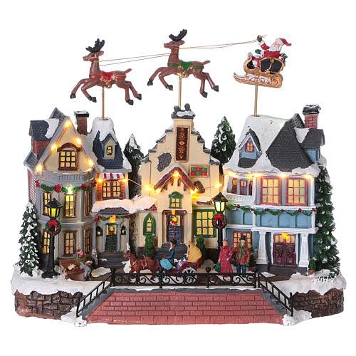 Cenário de Natal Pai Natal renas movimento 30x35x20 cm luzes música corrente 1