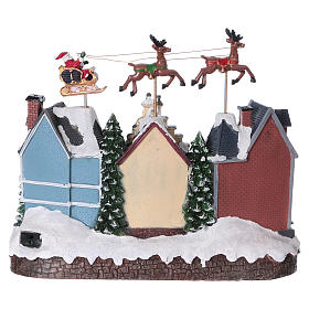 Santa Clause Christmas Village with moving Reindeer 30x35x20 lights music s5