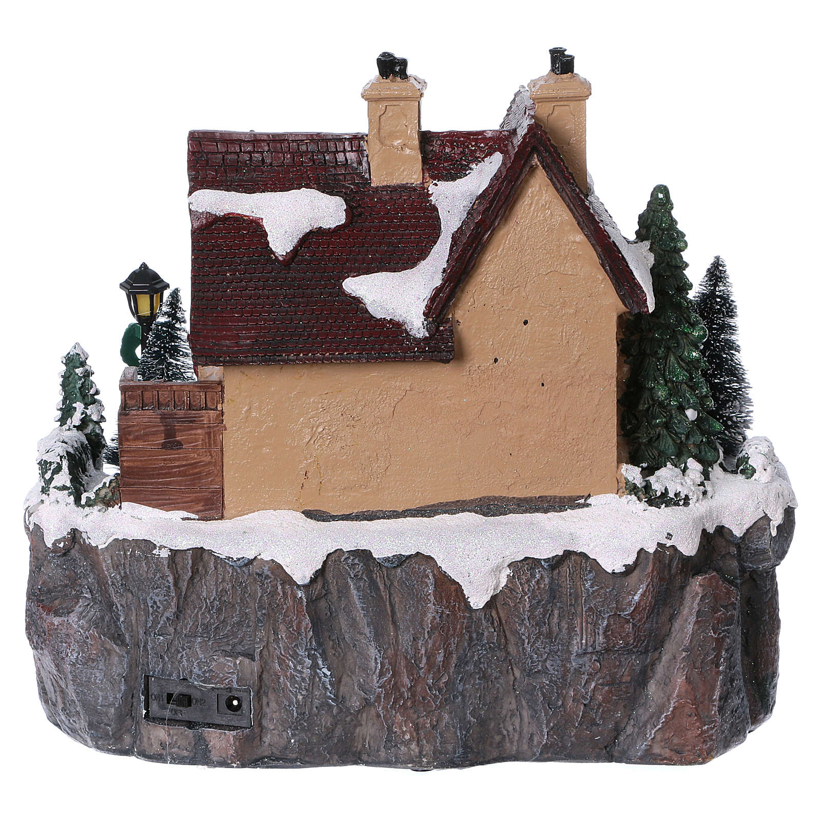 Christmas village with lights and moving ice skaters 25x25x25 cm 3