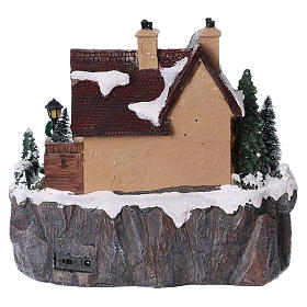 Christmas village with lights and moving ice skaters 25x25x25 cm s5