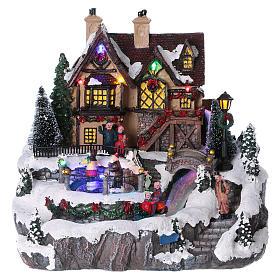 Villages de Noël miniatures: Village Noël 25x25x25 cm lumières fibre optique patineurs mouvement courant piles