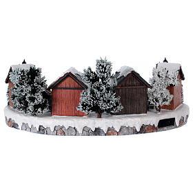 Weihnachtsdorf mit 6 Schlittschuhläufern in Bewegung 20x45x35 mit Beleuchtung und Musik Netzanschluss s5