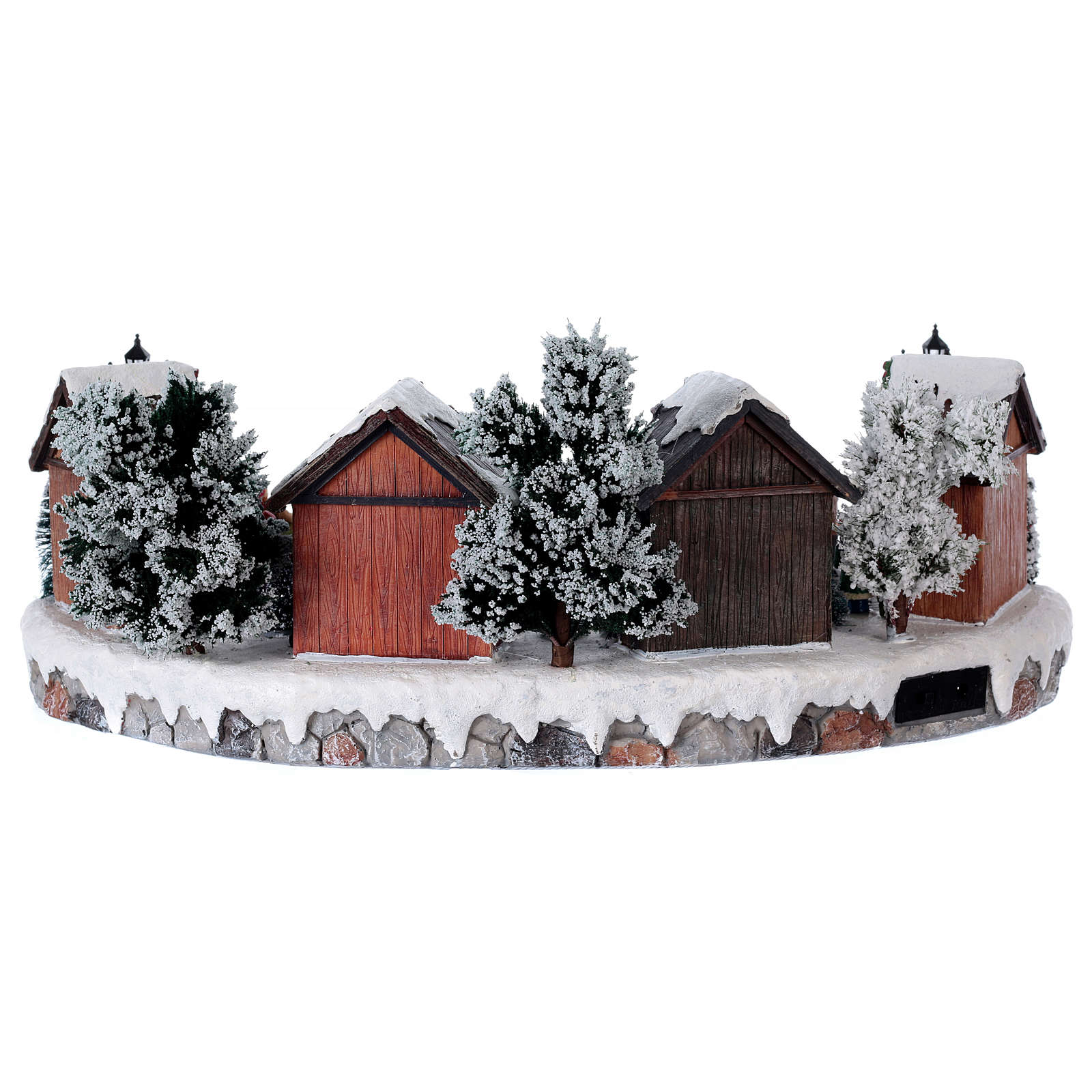 Christmas village with lights and six moving ice skaters 20x45x35 cm 3