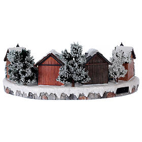 Christmas village with lights and six moving ice skaters 20x45x35 cm s5