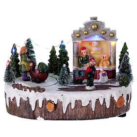 Cenários Natalinos em Miniatura: Cenário Natal 15x20x10 cm luzes música movimento carrinho de bebê