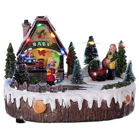 Cenários Natalinos em Miniatura: Cenário Natal 15x20x10 cm loja luzes música movimento carrinho de bebê