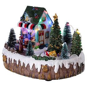 Pueblo de Navidad 15x20x10 cm tienda luces música movimiento árbol s3