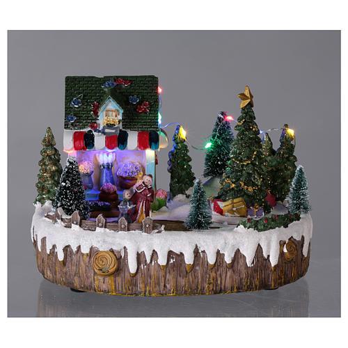 Pueblo de Navidad 15x20x10 cm tienda luces música movimiento árbol 2