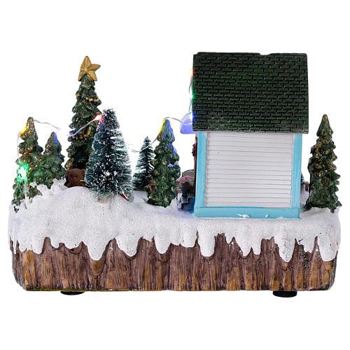 Pueblo de Navidad 15x20x10 cm tienda luces música movimiento árbol 5