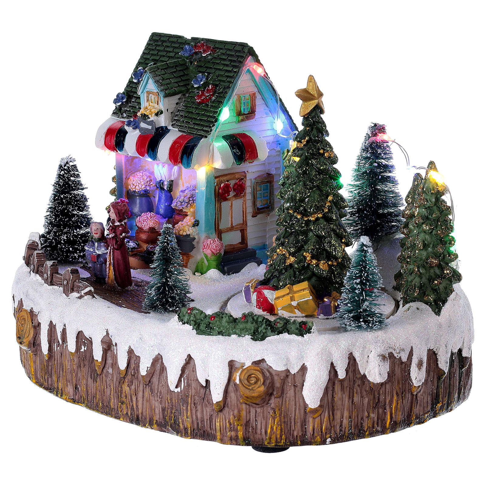 Village de Noël 15x25x10 cm magasin lumières musique mouvement sapin 3
