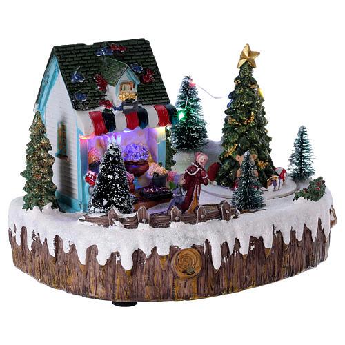 Village de Noël 15x25x10 cm magasin lumières musique mouvement sapin 4