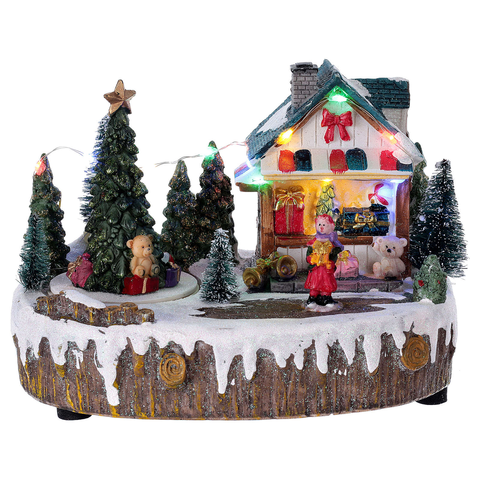 Pueblo de Navidad 15x20x10 cm tienda movimiento árbol luces 3
