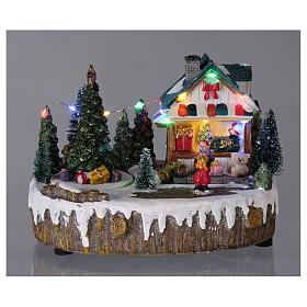 Pueblo de Navidad 15x20x10 cm tienda movimiento árbol luces s2
