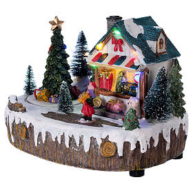 Pueblo de Navidad 15x20x10 cm tienda movimiento árbol luces s3