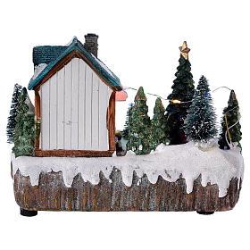Pueblo de Navidad 15x20x10 cm tienda movimiento árbol luces s5
