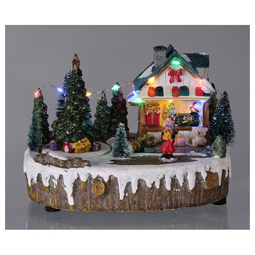 Pueblo de Navidad 15x20x10 cm tienda movimiento árbol luces 2