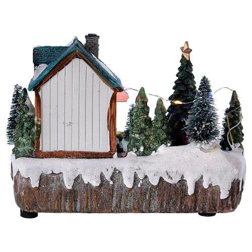 Pueblo de Navidad 15x20x10 cm tienda movimiento árbol luces 5