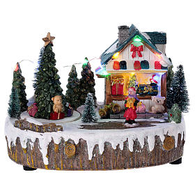Cenários Natalinos em Miniatura: Cenário Natal 15x20x10 cm loja movimento árvore luzes