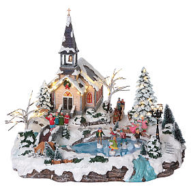 Villages de Noël miniatures: Village Noël 45x50x45 cm lac patineurs mouvement lumières courant