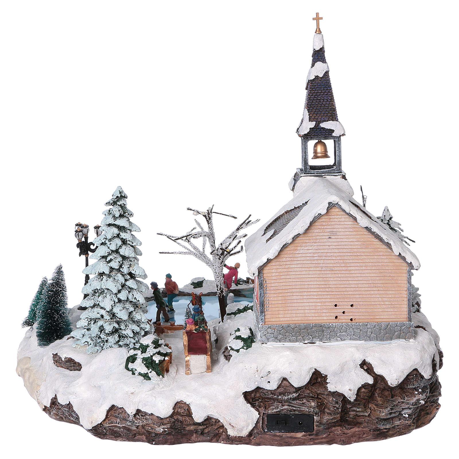 Villaggio natalizio 45x50x45 lago pattinatori movimento luci corrente 3