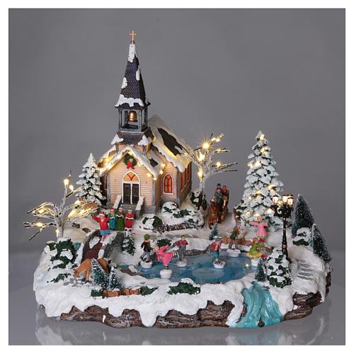 Villaggio natalizio 45x50x45 lago pattinatori movimento luci corrente 2