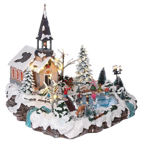 Villaggio natalizio 45x50x45 lago pattinatori movimento luci corrente 4