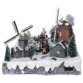 Christmas village with lights, stream and windmills 35x50x40 cm s6