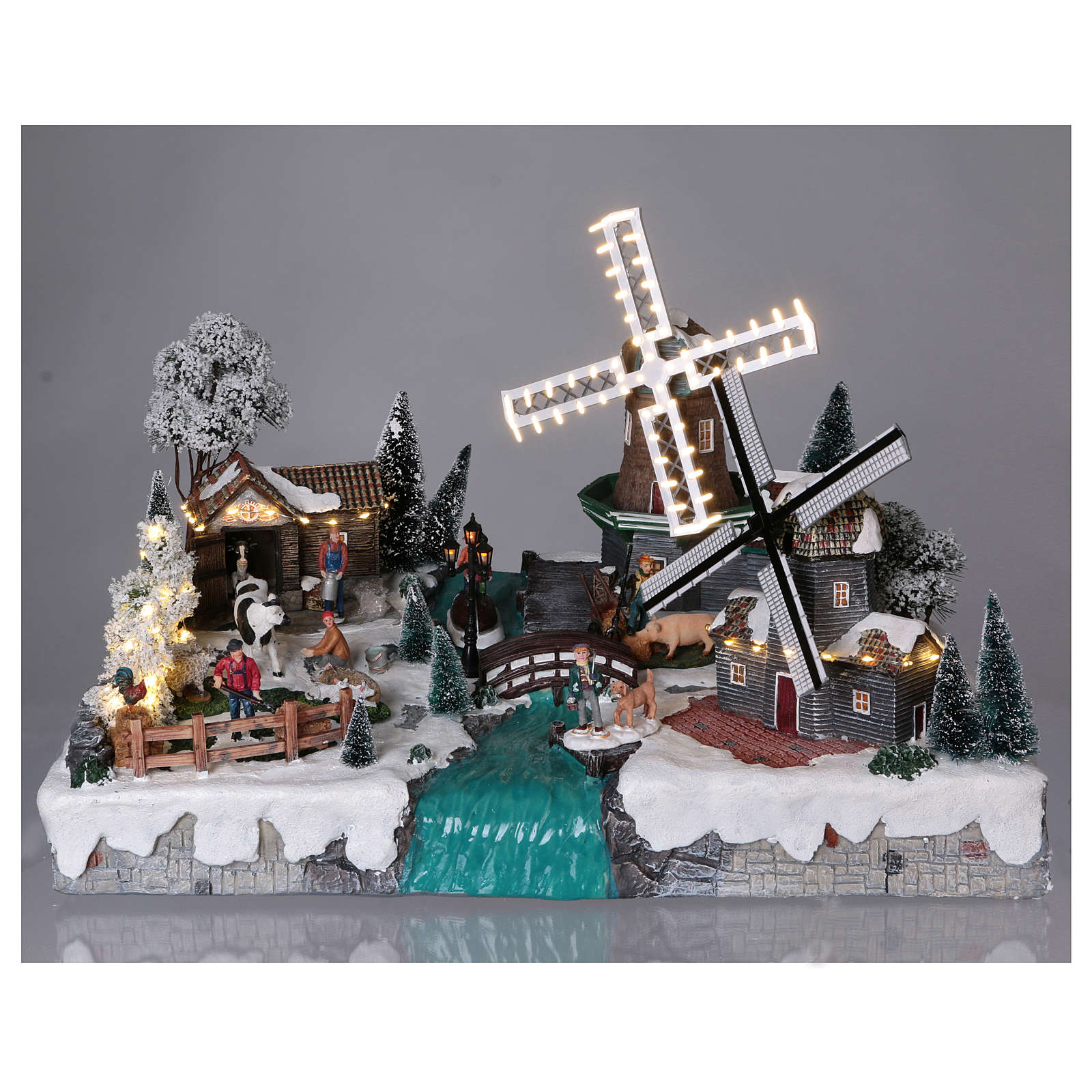 Pueblo Navideño en Miniatura con Luces, Música, Movimientos, Dos Molinos y Rio 37x52x42 cm 3