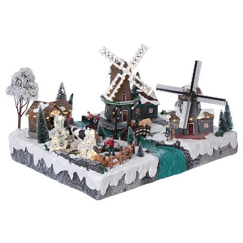 Pueblo Navideño en Miniatura con Luces, Música, Movimientos, Dos Molinos y Rio 37x52x42 cm 4