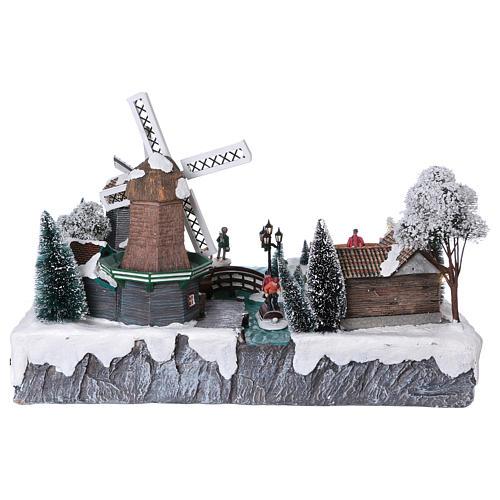 Pueblo Navideño en Miniatura con Luces, Música, Movimientos, Dos Molinos y Rio 37x52x42 cm 5