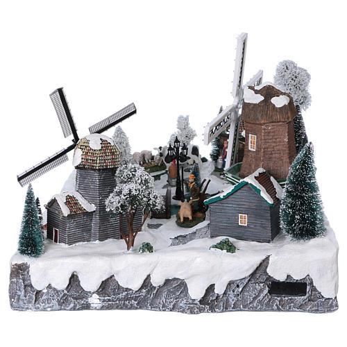 Pueblo Navideño en Miniatura con Luces, Música, Movimientos, Dos Molinos y Rio 37x52x42 cm 6
