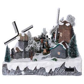 Villaggio di Natale 35x50x40 corrente con ruscello 2 mulini vento mov s6