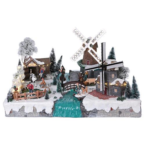 Villaggio di Natale 35x50x40 corrente con ruscello 2 mulini vento mov 1