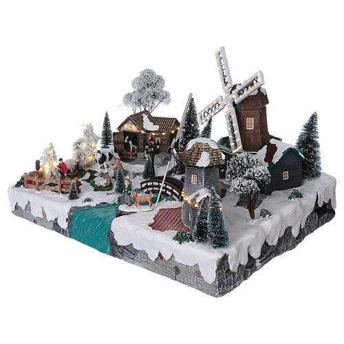 Villaggio di Natale 35x50x40 corrente con ruscello 2 mulini vento mov 3