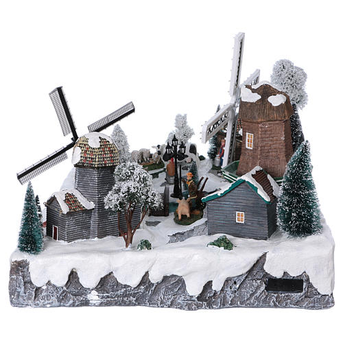 Illuminated Christmas village with windmills and ranch 37x52x42 cm 6