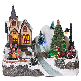 Cenários Natalinos em Miniatura: Cena natalina iluminada árvore em movimento família com ribeira 21x25x16 cm pilhas corrente