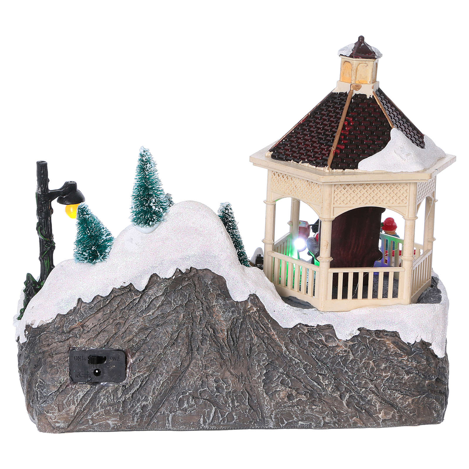 Villaggio Natalizio illuminato pattinatori movimento Babbo Natale 20x25x16 cm batteria corrente 3