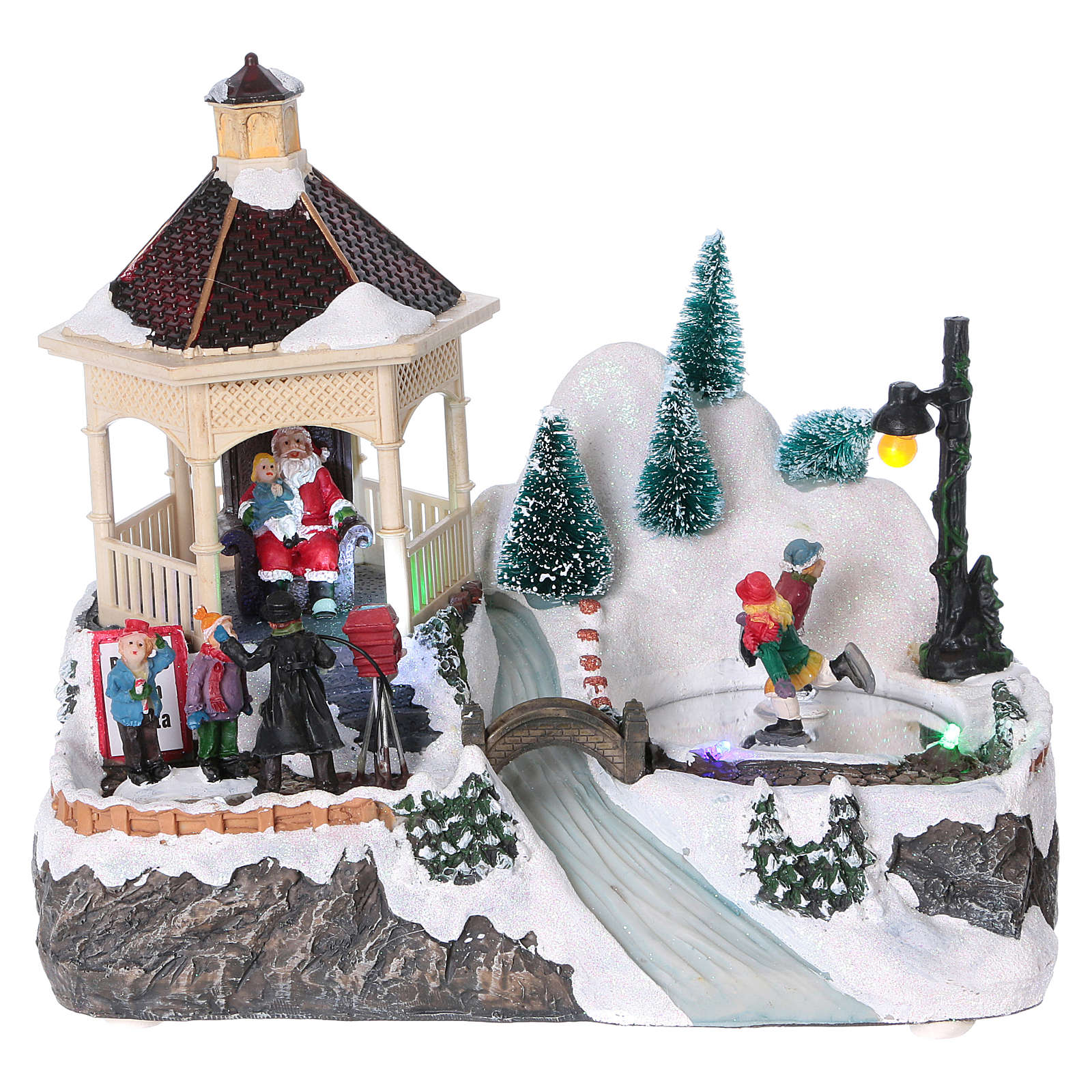 Illuminated Christmas village with animated ice skaters and Santa Claus 20x25x16 cm 3