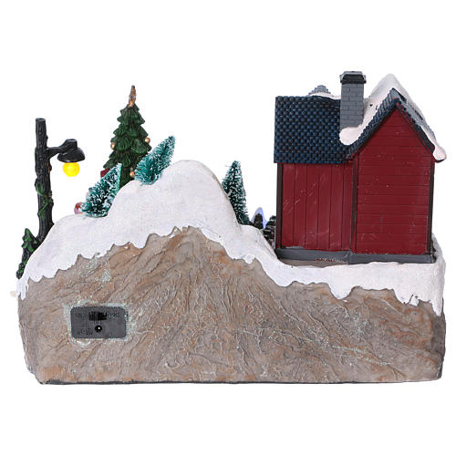 Christmas village with lights, moving tree, Santa Claus and elves 20x25x16 cm 5