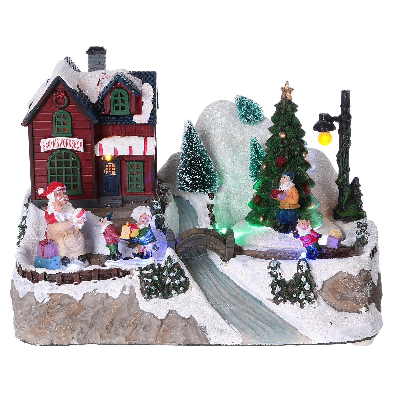 Villaggio Natalizio illuminato albero in movimento Babbo Natale elfi 20x25x16 cm batteria corrente 3