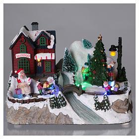 Cenário natalino iluminado árvore em movimento Pai Natal elfos 21x25x16  cm pilhas corrente s2